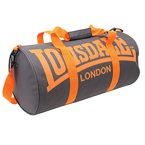 Lonsdale Barrel Bag, Palestra Fitness Borsa Da Viaggio, Charcoal/Orange, taglia unica