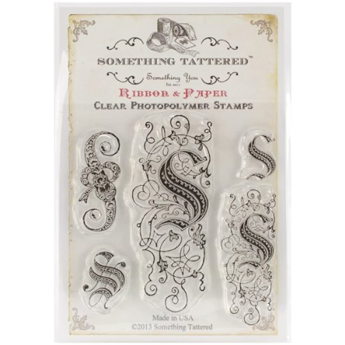 Something Tattered S Initial Monogram Clear Stamps, 4 by 4-Inch