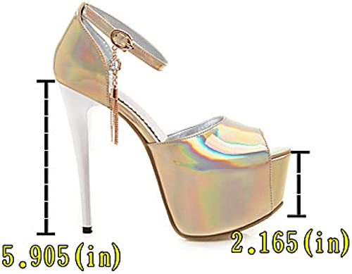 Weier. Ben Femmes Talons Chaussures Sexy Plateforme Peep Toe en Strass PU (Polyuréthane) Classique Printemps et Eté Anglais@Bleu Royal_US8   EU39   UK6   CN39