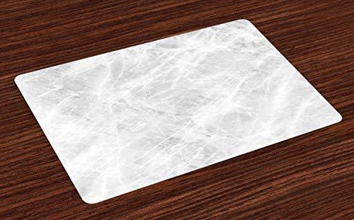 ABAKUHAUS Marmo Tovaglietta Americana Set di 4, Pastello Molle Effetti Onyx, Tovagliette in Tessuto Lavabile per Tavolo da Pranzo, Pallido Grigio Bianco