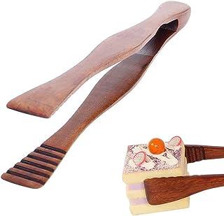Brödtångar, trämattänger, bambu teklip, trätång, efterrätt bröd tång, för kök camping grill buffé restaurang bakverk salla...
