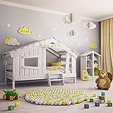 BIBEX APART Chalet Kinderbett, Spielbett, Jugendbett, Spielhaus, Massive Kiefer, mild-Weiss (mit...