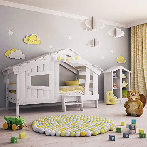 BIBEX APART Chalet Kinderbett, Spielbett, Jugendbett, Spielhaus, Massive Kiefer, mild-Weiss (ohne Türchen)