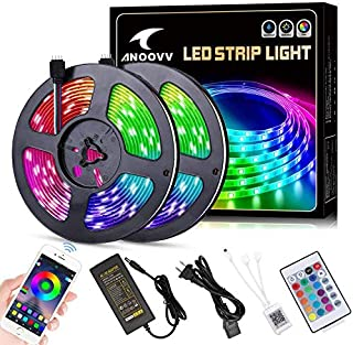 LED Strip Lights, ANOOVV 32.8 ft/10M RGB Color Changing Led Light Strip 5050 Waterproof Flexible Light Strip Kit with Bluetooth Controller Sync to Music APP, 12V 5APower Supply for Bedroom Kitchen