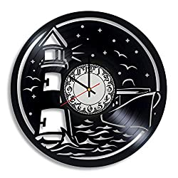 Lepri4ok Lighthouse Vinyl Wall Clock, Nautical Wall Decor, Lighthouse Wall Art, Lighthouse Charm, Lighthouse Decorations, Beach Decor, Vinyl Clock