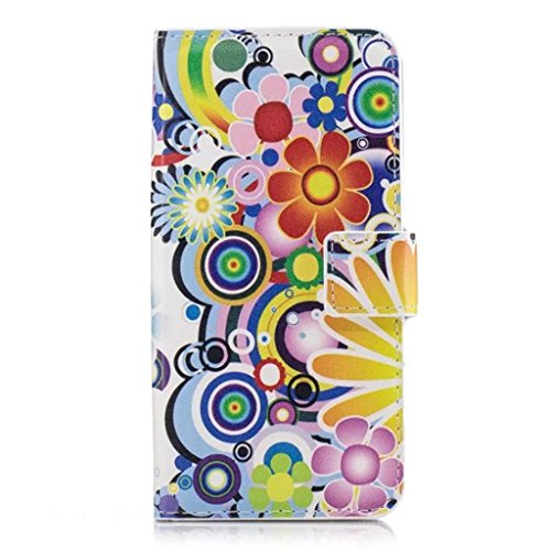 HUANGTAOLI Custodia in Pelle Portafoglio Flip Case Cover per Huawei P8 Lite Smart