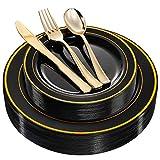 WDF 125 Piece Black Plastic Plates with Gold Rim & Disposable Gold Plastic Silverware - Premium Heavyweight Plastic Tableware for Wedding &Parties