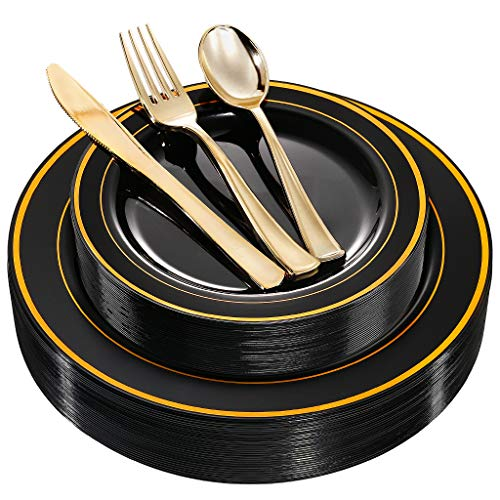 WDF 125 Piece Black Plastic Plates with Gold Rim & Disposable Gold Plastic Silverware - Premium Heavyweight Plastic Tableware for Wedding &Parties