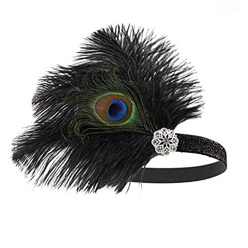 MGW Fascia Anni 20 Gatsby Flapper Headband Piuma Fascia Anni 20 Fascia Capelli Gatsby 2 Pezzi, Ideale per Feste a Tema Anni '20 o a Tema Grande Gatsby