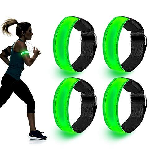 yVicv LED Armband, 4 Pack Reflective Strips Light Up Arm Bands, Safety...