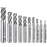 Afunta - Juego de 10 brocas de 4 puntas de punta de flauta para taladro recto HSS CNC (0,08-0,47 pulgadas, para madera, aluminio, acero, titanio)