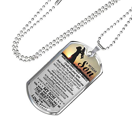 Dear My Son Dog Tag Military Ball Chain - You are The Best Thing Quotes Pendant Necklace Customized - Birthday Christmas Gag Gifts for Little Boy, Kids