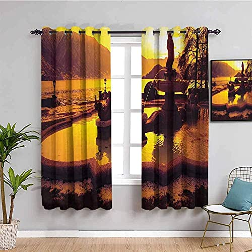 JYDFC Blackout Curtains for Bedroom Eyelet - 3D Digital Printing Perforated Curtains - Living Room Bedroom Kitchen Nursery Curtain - 110X96 Inch - Sunset Sky Stream Plants