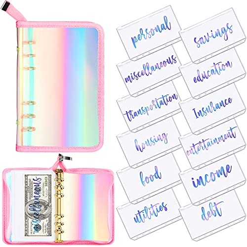 13 Pieces Rainbow Soft PVC Notebook Cover Binder Budget Envelopes System Budget Planner Organizer 6-Ring Binder Cover with Binder Zipper Pockets Binder Zipper Folder for Bill Planner