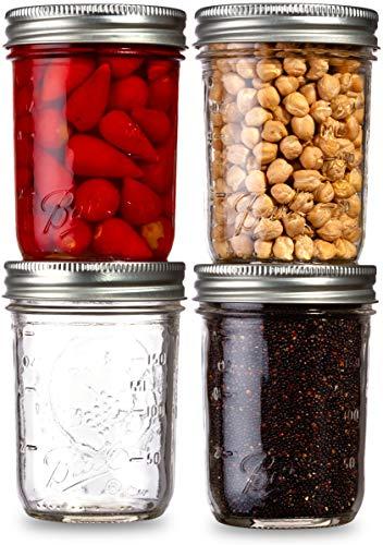 Ball Mason Jars Regular Mouth 8 oz Bundle with Non Slip Jar Opener brand BHL Jars - Set of 4 Mason Jars - Canning Glass Jars with Lids and Bands