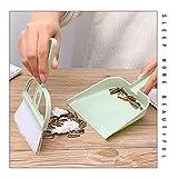 1 juego Verde Mini mesa de barrido Cepillo de limpieza del teclado duradero cepillo de barrido de escritorio de dos piezas con la pequeña escoba recogedor Conjunto