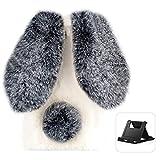 Shinyzone Funda compatible con iPhone 12 Pro Max de 6,7 pulgadas, orejas de conejo, pelo sintético, cola de conejo, cálido invierno, resistente a los golpes, TPU con diamante, negro y blanco