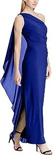 LAUREN RALPH LAUREN Womens Georgette-Cape Gown (Parisian Blue, 14)