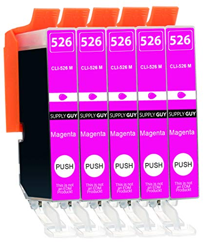 Supply Guy 5 Druckerpatronen mit Chip kompatibel mit Canon CLI-526 Magenta für IP-4850 IP-4950 IX-6550 MG-5150 MG-5250 MG-5340 MG-5350 MG-6150 MG-6250 MG-8150 MG-8240 MG-8250 MX-715 MX-885 MX-895