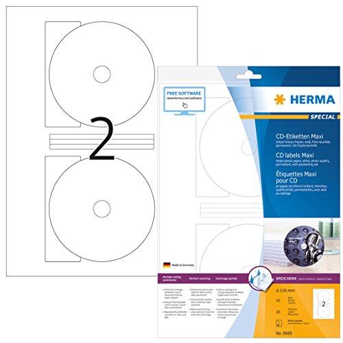HERMA 8885 CD-/DVD-Etiketten inkl. Positionierhilfe für Inkjet Drucker DIN A4 (Ø 116 mm MAXI, 10 Blatt, glänzend) bedruckbar, permanent haftende CD-Aufkleber, 20 Klebeetiketten, weiß