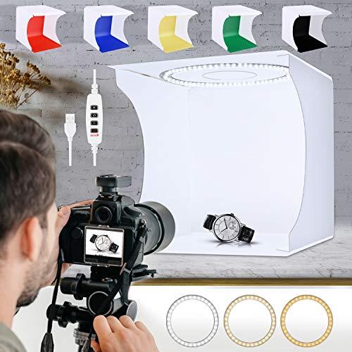 SLOW DOLPHIN 31cmPhoto Studio Light Box Ring Light 80pcs LED Lights Adjustable Portable Folding Photography Shooting Light Tent Kit with White/Warm/Soft Lighting +6 Backdrops