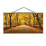 Bilderwelten Imagen de Tela - Autumn In Central Park - 25cm x 50cm, Material: Roble