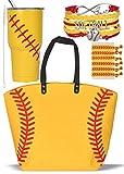 Softball Canvas Tote Bag Handbag, Softball Tumbler Cup, Softball Hair Accessories, Softball Hair Ties for Women, Softball Bracelet For Mom, Girls Softball Jewelry, Softball Team Mom, Softball Gift Set