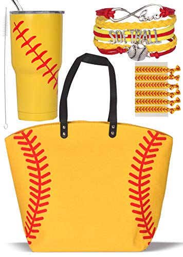 Softball Canvas Tote Bag Handbag, Softball Tumbler Cup, Softball Hair Accessories, Softball Hair Ties for Women, Softball Bracelet For Mom, Girls Softball Jewelry, Softball Team Mom, Softball Gift Set