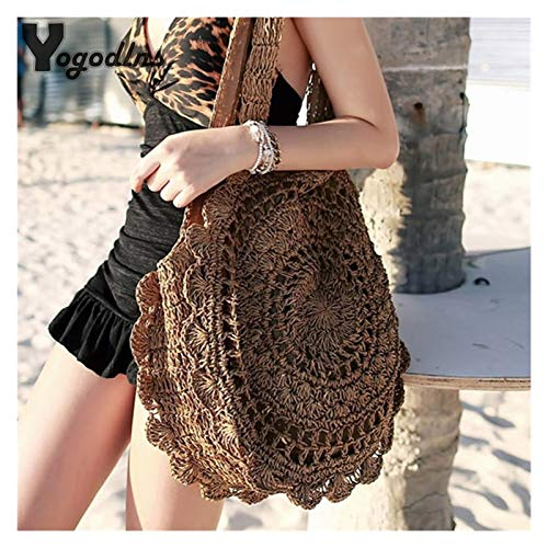 HUXIZ Straw Bags for Women Circle Beach Handbags Summer Rattan Shoulder Bags Handmade Knitted Travel Big Totes Bag 2020 New (Color : 002, Size : 30cm)