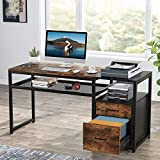 Tribesigns Computer Desk with File Drawers, 57 inch Large Writing Desk with Storage Shelf, Rustic Office Desk with Printer Stand for Home Office (Rustic)