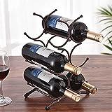 KLGO Wine Rack for Countertop,Wine Storage Shelf for Pantry Cabinet,can Hold 6 Bottles,6 Bottles Countertop Stainless Steel Metal Red Wine Storage Holder,Black