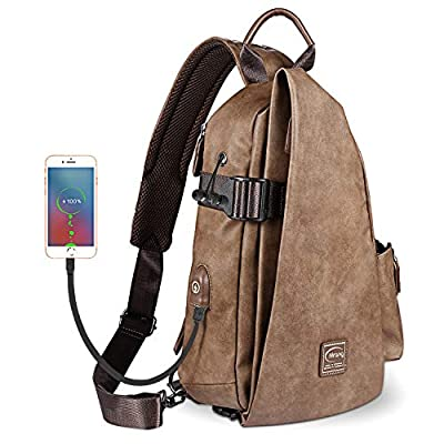 Sling Bag Cross Body Multipurpose Daypack Shoulder Chest Bag with USB Charging Port & Headphone Hole for Women Men Outdoor Sport Gym Hiking Cycling