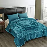 JML Fleece Blanket King Size, Heavy Korean Mink Blanket 85 X 95 Inches- 9 Lbs, Single Ply, Soft and Warm, Thick Raschel Printed Mink Blanket for Autumn,Winter,Bed,Home,Gifts, Teal