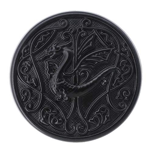 Bezelry 12 Pieces Celtic Flying Dragon Metal Shank Buttons. 25mm (1 inch) (Matte Black)