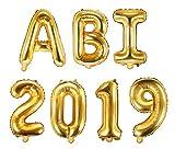 XXL Folien-Ballons ABI 2019 gold Buchstaben-Balloon-Girlande Luft-Ballons Schriftzug Höhe 35cm Abitur Schul-Abschluss Abi-Party Feier Schul-Ende Gymansium Matura Diplom Reife-Prüfung...