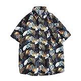 RHH Shop Camisa de manga corta para hombre y mujer japonesa, retro, suelta, para estudiantes coreanos, camisas para hombre y mujer (color azul oscuro, talla: XXXL)