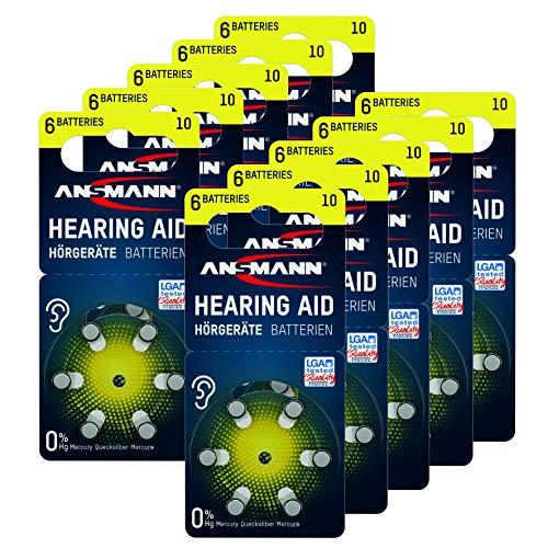 ANSMANN AG ANSMANN Hörgerätebatterien 10 (Gelb 60 Stück) Typ 10 P10 PR70 ZL4 - Zink Luft 1,4V - Batterie für Hörgerät, Hörverstärker, Hörhilfe, 10 - Gelb
