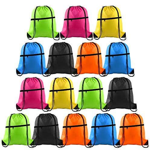 KUUQA 16Pcs Drawstring Backpack Bags with Zipper Pocket String Backpack Bulk Cinch Sackpack Tote Bags for School Yoga Sport Gym Traveling