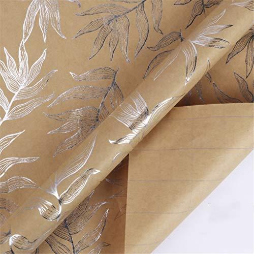 SZQ-Inpakpapier Vintage Box cadeau inpakken papier, patroon Plant Thicken kraftpapier Tea Shop Cake Shop Dessert inpakpapier 76 * 305cm * 1roll Cadeaupapier (Color : A, Size : 76 * 305cm)