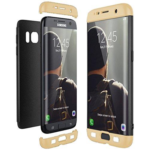 通用 Compatible con Funda Samsung Galaxy S7 Edge Carcasa Samsung S7 Edge Fundas Antigolpes Case Fácil De Desmontar 3 En 1 Rosa Tapa Accesorios Protector (S7 Edge, Oro Negro)