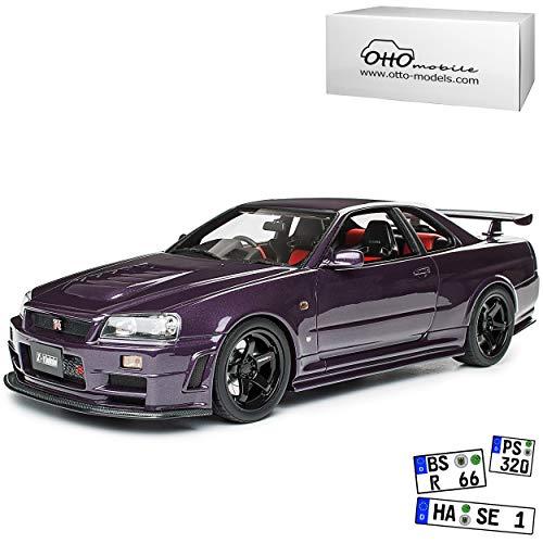 Nissan Skyline R34 GT-R Nismo Z-Tune Midnight Purple Schwarze Felgen 1998-2002 Nr 811 1/18 Otto Modell Auto mit individiuellem Wunschkennzeichen