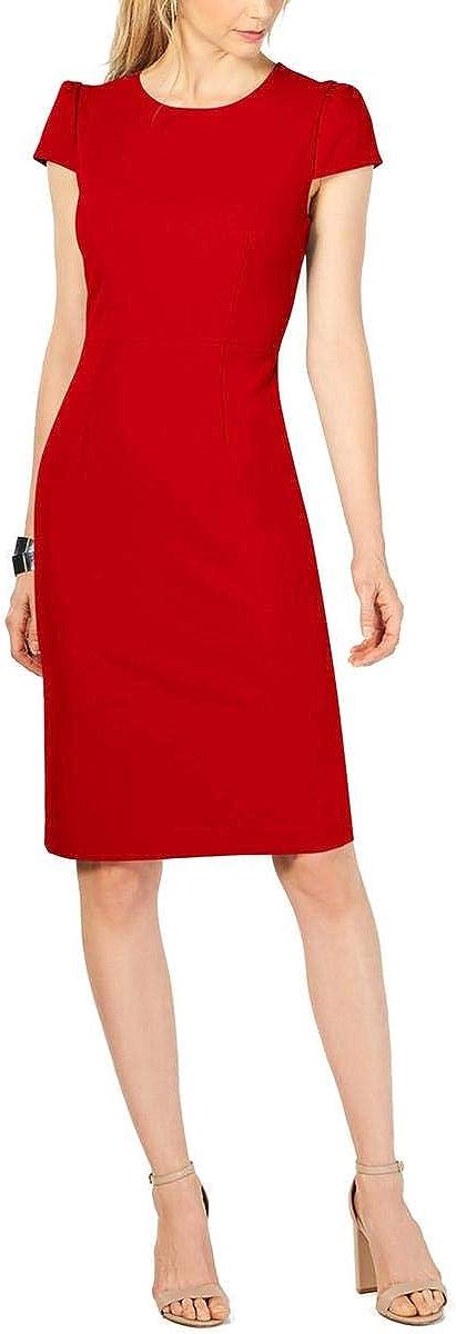 Betsey Johnson Women's Stretch Crepe Midi Cap Sleeve Dress