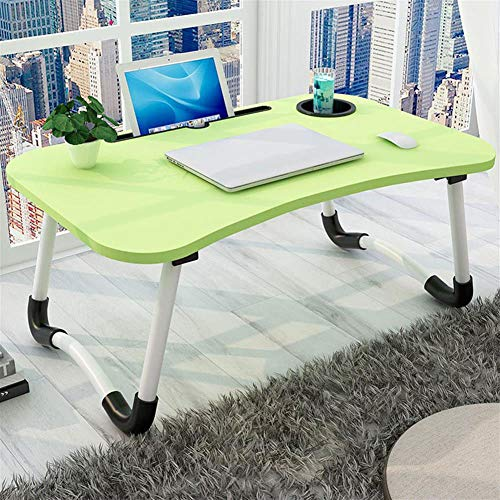 AKEFG Adjustable Laptop Bed Table Lap Standing Desk for Bed and Sofa Breakfast Bed Tray Laptop Lap Desk Folding Breakfast Serving Coffee Tray Notebook Stand Reading Holder for Couch Floor Kids,Green