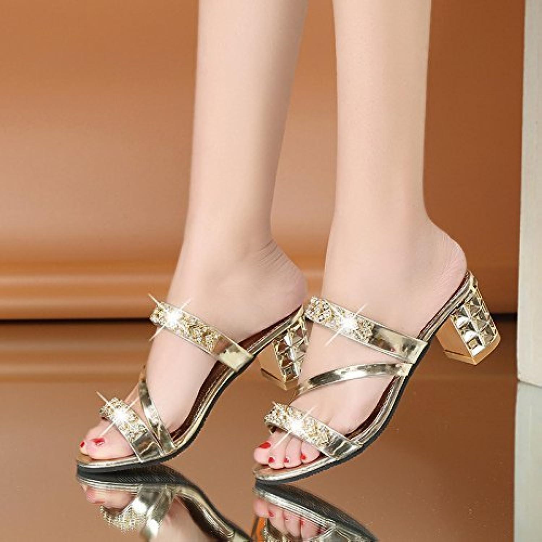 HhGold Frauen Flip-Flops High Heel Dick mit Casual Breathable Golden 6 US   36 EU   3.5 UK (Farbe   Wie Gezeigt, Größe   Einheitsgröße)  | Am praktischsten