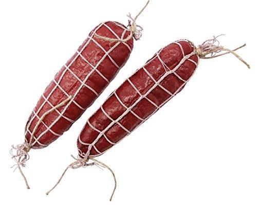 ERRO Salami rot 2er Set Attrappen - 12377, Lebensmittelattrappe Netz-Salami Natur - Hohlattrappe zur Bühnendeko aus Plastik, Lebensmittelnachbildung, Wurstattrappe