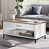 WAMPAT Premium Farmhouse Coffee Table, Large Rectangle Center Table with 3 Drawers and Open Storage Shelf for Living Room, 42', White/Oak, Wood/Metal