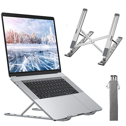 ANDOLO Supporto PC Portatile, Raffreddamento Supporto Notebook,6 Livelli Angolazione Regolabile Pieghevole,Porto Laptop per PC Tablet Notebook da 10  -15.6  ,Argento