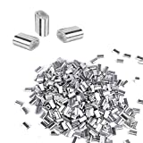 400 Pcs Aluminum Crimping Loop Sleeve, Aluminum Sleeves Clip for 1/16' Diameter Wire Rope and Cable