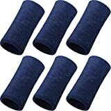 WILLBOND 6 Inch Wrist Sweatband Sport Wristbands Elastic Athletic Cotton Wrist Bands for Sports (Navy)