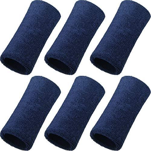 WILLBOND 6 Inch Wrist Sweatband Sport Wristbands Elastic Athletic Wrist Bands for Sports (Navy)